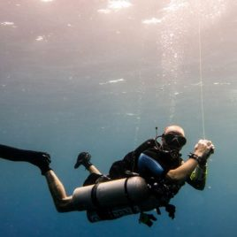 technical diver underwater